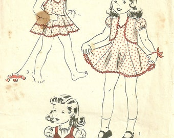 "Vintage 1940s Girls Dress Jumper Blouse Bolero Pattern Size 2 Chest 21"" Hollywood 704"
