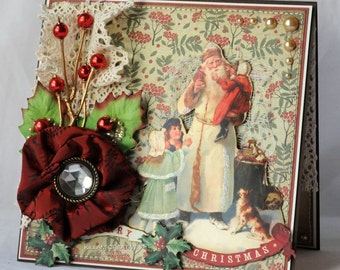 Vintage Santa Greeting Card, Handmade Card, Layered Card