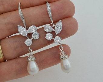 Bridal Cubic Zirconia Crystal Earrings, Swarovski Drop Pearls, Silver Tone, Wedding Jewelry, Ester Style A - Ships in 1-3 Business Days