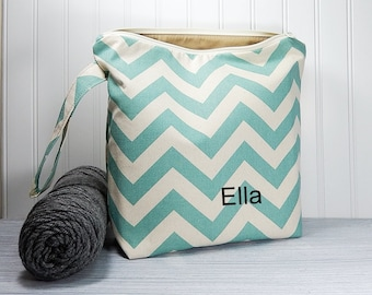 Personalized project bag with name, large zipper pouch, yarn bag, crochet tote, knitters gift, work in progress, monogram bag