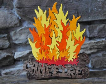Campfire FUN Hand Cut Wooden Camping Fire  Puzzle Made in USA