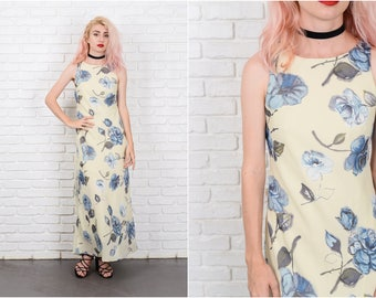 Vintage 90s Yellow + Blue Maxi Grunge Dress Floral Print XS 9731 vintage dress 90s dress yellow dress blue dress maxi dress xs dress