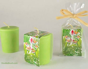 Sandalwood Candle Hawaiian Rainforest Candle Extra Large Green Votive Candle 3 ounce Original Forest Design Sandalwood Scented Candle Gift