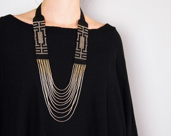 Statement necklace, beaded necklace, native american jewelry, gold black necklace, green, ethnic chic necklace, big necklace, women necklace