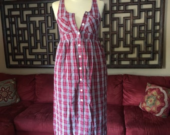 Cute 90s Red Plaid Dress with POCKETS!