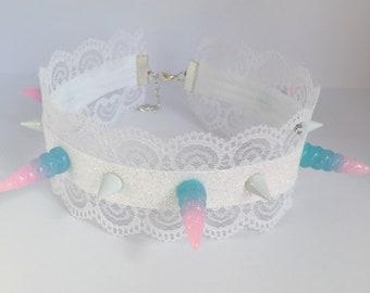 Pastel Unicorn Horn Glitter Studded Lace Choker