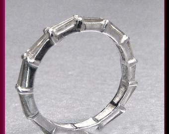Diamond Wedding Band Vintage Diamond Eternity Band Diamond Baguette Wedding Band Ring Platinum Eternity Band Ring- R 317S