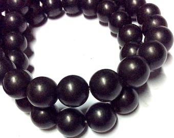 10mm Jet Gemstone Beads - Black Beads - Matte Beads - Round Beads - 40pcs