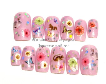 Pink nail, woodland, animal, lovely nail, press on nail, fake nails, false nail, acrylic nail, nail set, glitter, girly, gyaru nail