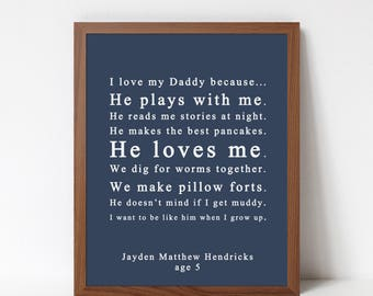 Birthday Gift Print for Dad or Grandfather - Gift from Kids - Custom Text and Colors - I Love Daddy Because