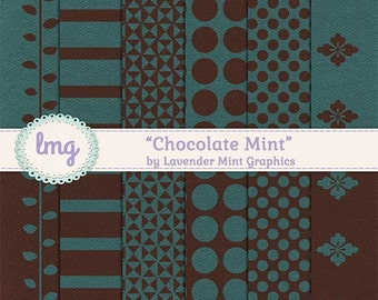 Green and Brown Digital Papers - Chocolate Mint - Paper Craft Backgrounds, Scrapbook, Polka Dot Patterns, Instant Download, Commercial Use