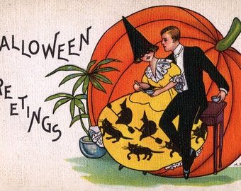 Halloween Greetings,  giclee print reproduction of a vintage postcard