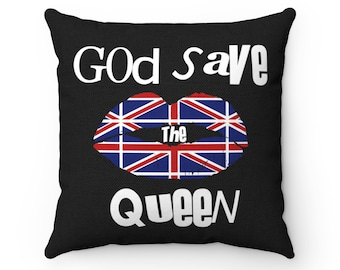 Copy Of God Save The Queen Uk Lips Black Spun Polyester Square Pillow