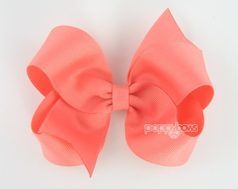 Girls Hair Bows - coral hair bow - 4 inch bows - large hair bows - girl hair bows - bows for girls - toddler hair bows - big hair bows clips