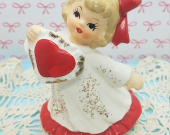 Lefton Valentine February Girl with Heart and Bow