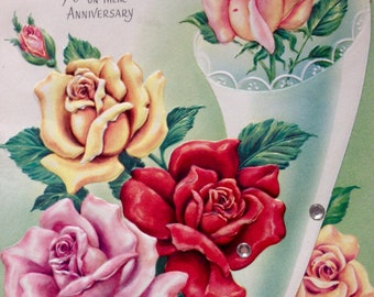 Vintage Rose Anniversary Card, Unused, NOS, 1950's, Daughter and Her Husband