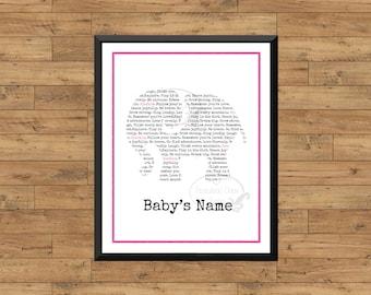 Custom Baby Name Wall Art Personalized Baby Nursery Print Digital Printable Art Baby Girl Baby Initial Monogram Baby Name Pink Elephant