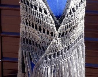 On SALE Shadow Dancer Boho Triangle Shawl Hand Crocheted with Hand Knotted Fringe in Kid Mohair, Alpaca, Merino, Wool, Nylon, acrylic yarns