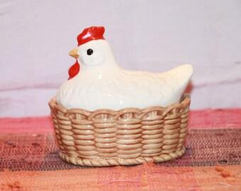 Vintage White Pottery Hen on Nest