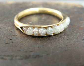 raw diamond rock candy ring
