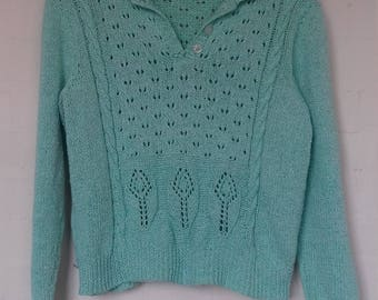 Green and white flecked vintage jumper knit - medium