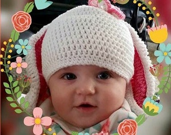 Show your happy Easter with this long eared bunny hat.  Made with 100% cotton yarn.  Washable and dryable.  Any color you like.