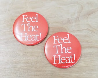 Vintage Metal Buttons Set of 2 Feel The Heat Pin Back Buttons Party Buttons Margarita Buttons Bachelorette Button Bachelorette Pin Party Pin