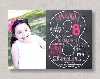Eighth Birthday Invitation, 8th Birthday Invitation, Girl Birthday Invitation, Photo Invitation, 8th, Number 8, Eighth Birthday, Girl Bday