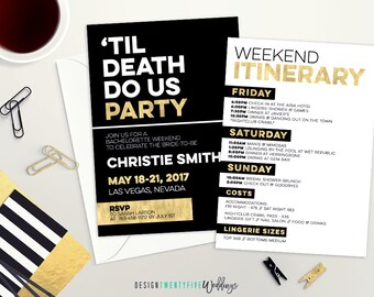 Til Death Do Us Party Bachelorette Party Invitation   Black & Gold Invitation   Weekend Itinerary   Last Fling Before the Ring