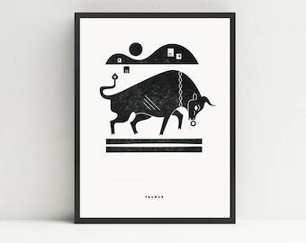 Taurus Letterpress Print