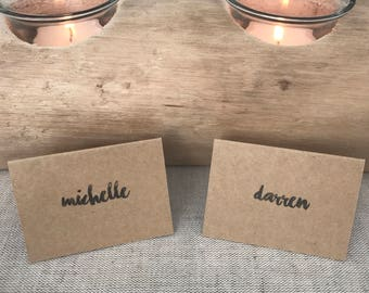 25 x Kraft Paper Place Cards - Chasing Embers Font