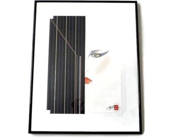 Hisashi Otsuka Mixed Media Print Hand Signed Limited Edition  Neo-Deco 1980s Modernist