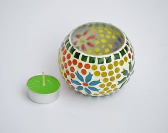 Candle Holder block printed pattern, bold colours, beautiful design, Ceramic, Home decoration