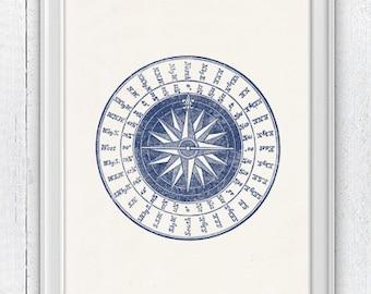 Vintage compass rose in blue - Nautical print poster - sea life tools print- Vintage illustration sea life NTC047