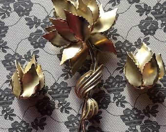 Vintage 60s Goldtone Large Three Dimensional 4 inch Brooch Clip Earrings Demi Parure Figural Rose