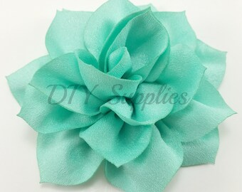 "3"" aqua green lotus fabric flower - Rose flower for headbands - Wedding hair clip flower - Wholesale chiffon flowers - Large pink flowers"