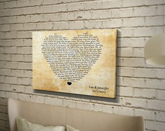 Personalized 4th wedding anniversary gift for wife, 4 years together anniversary, fruit anniversary idea, wedding song lyrics, custom canvas