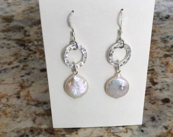 Coin Pearl and Hammered Silver Earrings