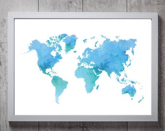 Map print etsy watercolour world map print a3a4a5a6 gumiabroncs Image collections