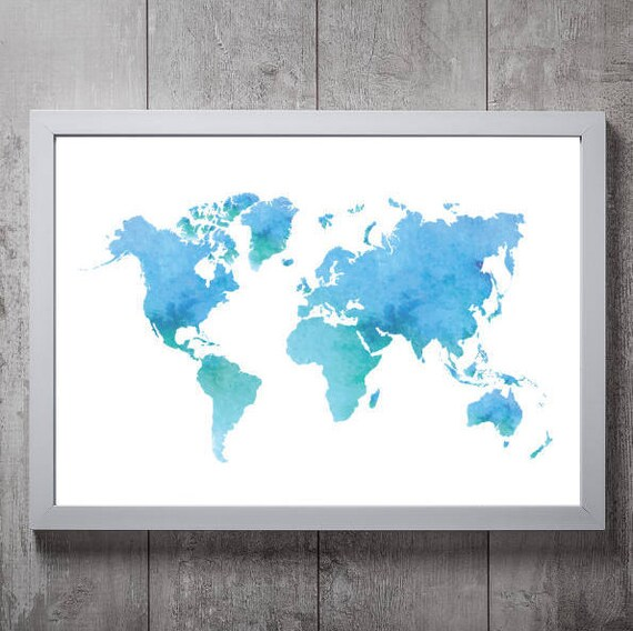 Watercolour world map print a3a4a5a6 gumiabroncs Choice Image