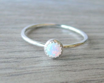 White opal ring Sterling silver stacking ring gemstone ring lab opal stackable ring sterling silver ring silver opal ring