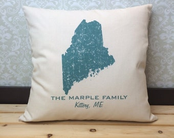 Maine State Pillow Cover Personalized with Your Family Name, Hometown and State Name