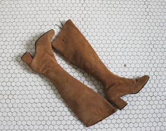 1960s camel suede over the knee boots | 60s suede leather tall boots 7