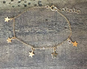 FALLING STARS * STAR Bracelet * 14k Gold Filled Chain * Dangling Stars * Delicate * Dainty * Falling Stars * Stars Fall * Minimal