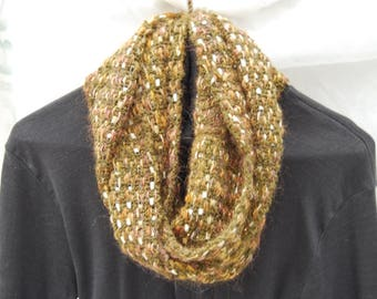 Handwoven Green and Gold Infinity Scarf