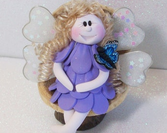 Lavender flower Fairy figurine and blue butterfly: miniatures Fairy Gardens