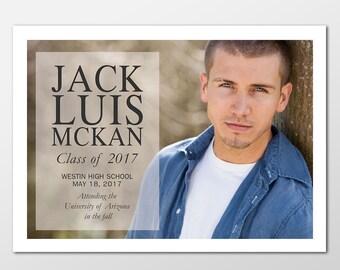 Senior Graduation Announcement Photo Cards - Boy Graduation Announcements - PRINTABLE or PRINTED - Girl or Boy Graduation Announcement Cards