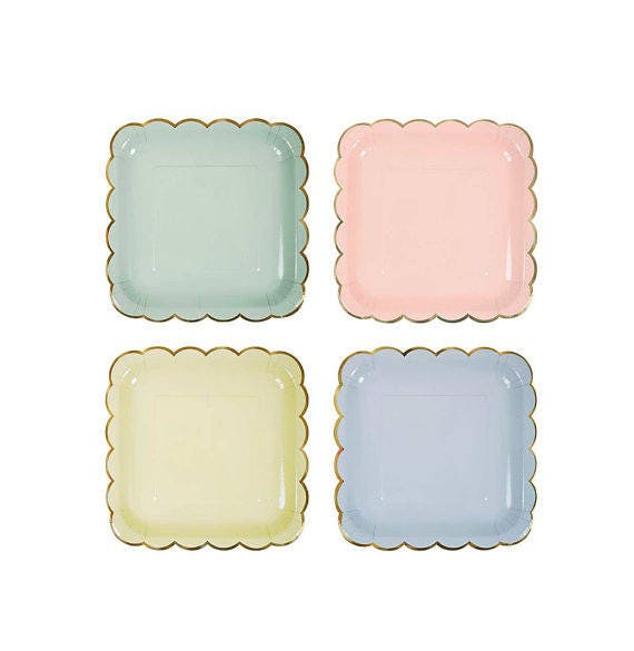 Paper Plates | Party Plates | Gold Scalloped Plates | Pastel Plates | Gold Foil Trim | Pink Blue Yellow Green Plate Set | 8 Plates Per Pack  sc 1 st  Etsy : pink and blue paper plates - pezcame.com