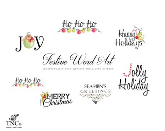 Christmas digital word art, Festive instant download, happy holidays clipart for scrapbooking,