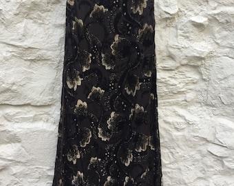 Stunning vintage maxi evening skirt Jobrey devore velvet with gold sparkle